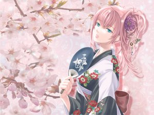 Rating: Safe Score: 87 Tags: blue_eyes fan japanese_clothes kimono long_hair megurine_luka pink_hair vocaloid User: mihaela94