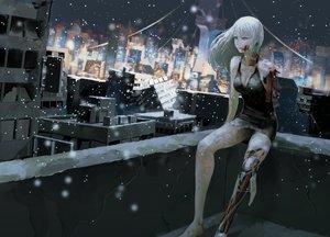 Rating: Safe Score: 60 Tags: building city jittsu night original snow techgirl white_hair User: FormX