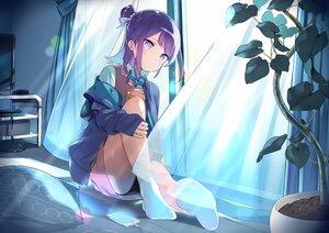 Rating: Safe Score: 76 Tags: aliasing bow hanayori_jyoshiryou hoodie kohigashi_hitona leaves night panties phone purple_eyes purple_hair sama school_uniform short_hair skirt socks underwear User: otaku_emmy