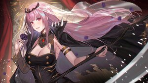 Rating: Safe Score: 31 Tags: breasts cape cleavage deras flowers headdress hololive long_hair mori_calliope petals pink_eyes pink_hair rose scythe tiara weapon User: BattlequeenYume
