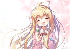 Rating: Safe Score: 68 Tags: air blonde_hair blush bow food kamio_misuzu long_hair mauve petals ponytail ribbons signed waifu2x User: otaku_emmy