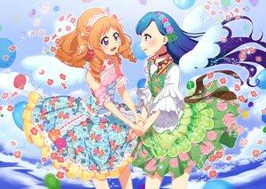 Rating: Safe Score: 11 Tags: aikatsu! blue_hair collar dress flowers himesato_maria kazesawa_sora necklace orange_hair petals purple_eyes ume_(plumblossom) water User: FormX