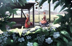 Rating: Safe Score: 100 Tags: 2girls aki_minoriko aki_shizuha blonde_hair flowers hat landscape leaves ryosios scenic short_hair skirt touhou User: Flandre93