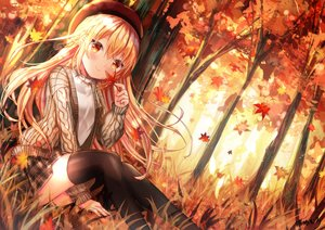 Rating: Safe Score: 78 Tags: autumn forest grass kohaku_muro leaves original thighhighs tree User: BattlequeenYume