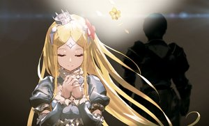 Rating: Safe Score: 80 Tags: armor blonde_hair climb_(overlord) cropped crown flowers gradient long_hair male overlord petals renner_theiere_chardelon_ryle_vaiself so-bin User: RyuZU