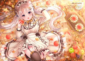 Rating: Safe Score: 44 Tags: animal_ears apron autumn blonde_hair catgirl fang food fruit garter_belt headdress lolita_fashion long_hair nemuri_nemu original red_eyes scan thighhighs User: Nepcoheart