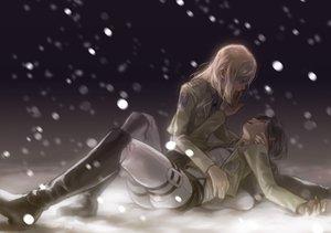 Rating: Safe Score: 112 Tags: 2girls appendix black_hair blonde_hair boots christa_renz crying night shingeki_no_kyojin snow tears white ymir_(shingeki_no_kyojin) User: FormX