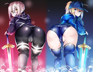 Rating: Questionable Score: 131 Tags: 2girls artoria_pendragon_(all) ass bike_shorts blonde_hair bloomers blush braids cameltoe fate/grand_order fate_(series) glasses hat long_hair mysterious_heroine_x mysterious_heroine_x_alter ponytail short_hair shorts skintight sword thighhighs weapon yellow_eyes yuu-kun_(hand_linke) User: BattlequeenYume