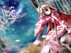 Rating: Safe Score: 31 Tags: cherry_blossoms flowers japanese_clothes kimono long_hair minase_lin moon signed User: Oyashiro-sama
