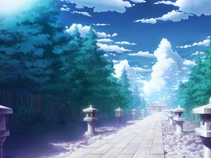 Rating: Safe Score: 70 Tags: aoha_(twintail) clouds scenic sky tagme touhou tree User: opai