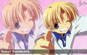 Rating: Safe Score: 6 Tags: all_male blonde_hair clannad key logo male sunohara_youhei zoom_layer User: Oyashiro-sama