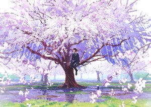 Rating: Safe Score: 47 Tags: brown_hair cherry_blossoms flowers grass mocha_(cotton) original pantyhose petals reflection school_uniform short_hair signed skirt tree water User: otaku_emmy
