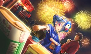 Rating: Safe Score: 5 Tags: blue_hair brown_eyes candy festival fireworks japanese_clothes male mask night original pink_eyes ponytail tagme_(artist) User: RyuZU
