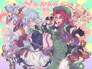 Rating: Safe Score: 50 Tags: flandre_scarlet hong_meiling izayoi_sakuya koakuma morino_hon patchouli_knowledge remilia_scarlet touhou vampire User: jigglyppuff8