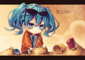 Rating: Safe Score: 21 Tags: blue_eyes blue_hair blush hatsune_miku kyouda_suzuka suna_no_wakusei_(vocaloid) sunglasses twintails vocaloid User: RyuZU
