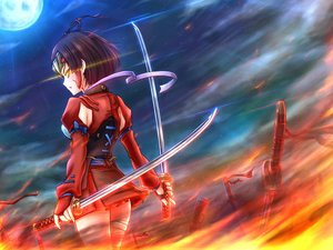 Rating: Safe Score: 78 Tags: armor bandage eltnage fire headdress katana koutetsujou_no_kabaneri moon mumei_(kabaneri) night short_hair sword weapon User: FormX