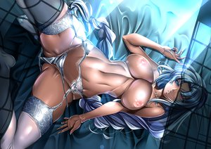 Rating: Questionable Score: 354 Tags: bicolored_eyes blue_hair breasts garter_belt long_hair nipples panties saburou_(hgmg) touhou underwear yagokoro_eirin User: Dragoonxxx