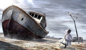 Rating: Safe Score: 59 Tags: aliasing boat building dress long_hair original ruins ryosios weapon white_hair User: luckyluna