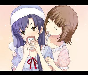 Rating: Safe Score: 13 Tags: amami_haruka blue_hair brown_eyes brown_hair idolmaster kisaragi_chihaya long_hair ribbons short_hair User: HawthorneKitty