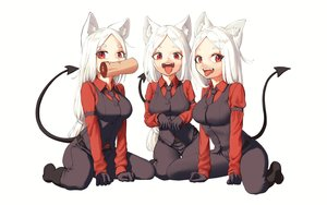 Rating: Safe Score: 50 Tags: animal_ears blush boots cat_smile cerberus_(helltaker) doggirl fang food gloves helltaker kaos_(998) long_hair red_eyes suit tail tie white white_hair User: otaku_emmy