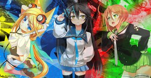 Rating: Safe Score: 44 Tags: animal_ears black_hair blonde_hair blue_eyes ch@r headphones long_hair necro-san orange_hair original skirt thighhighs tie yellow_eyes User: KingGroyeR