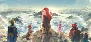 Rating: Safe Score: 46 Tags: armor bow_(weapon) clouds group original red_hair sky somehira_katsu staff sword weapon User: FormX