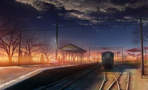 Rating: Safe Score: 202 Tags: clouds monorisu original scenic sunset train tree User: 02