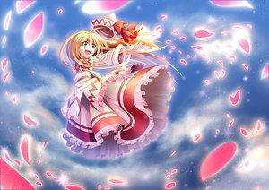 Rating: Safe Score: 5 Tags: blonde_hair bow dress green_eyes hat lily_white long_hair petals touhou z.o.b User: RyuZU