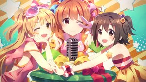 Rating: Safe Score: 123 Tags: akagi_miria aliasing blonde_hair bow brown_hair cat_smile idolmaster idolmaster_cinderella_girls jougasaki_rika long_hair moroboshi_kirari short_hair twintails wink wristwear yuuki_tatsuya User: Flandre93