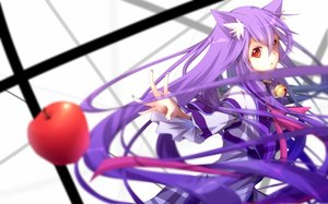 Rating: Safe Score: 205 Tags: animal_ears apple bell collar kawasaki_toiro long_hair original purple_hair red_eyes ribbons User: Maboroshi
