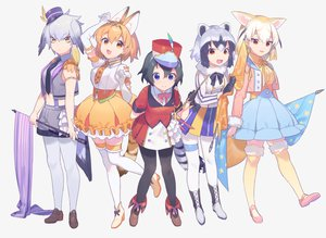 Rating: Safe Score: 48 Tags: animal_ears anthropomorphism black_hair blonde_hair blue_eyes boots bow catgirl cat_smile common_raccoon_(kemono_friends) cosplay elbow_gloves fang fennec_(kemono_friends) foxgirl gloves gray_hair group hat heiwa_(murasiho) kaban kemono_friends navel orange_eyes orange_hair pantyhose ribbons serval shoebill_(kemono_friends) short_hair skirt tail thighhighs yellow_eyes User: otaku_emmy
