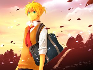 Rating: Safe Score: 21 Tags: blonde_hair clouds green_eyes kagamine_len leaves male seifuku short_hair sky sunset tie vocaloid User: HawthorneKitty