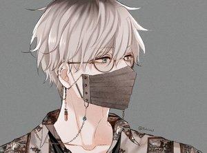 Rating: Safe Score: 33 Tags: all_male aqua_eyes chain close glasses gray male mask original shijima_tohiro short_hair signed white_hair User: mattiasc02