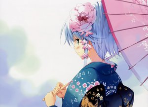 Rating: Safe Score: 59 Tags: japanese_clothes kimono tagme ueda_ryou umbrella User: korokun