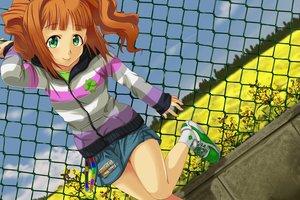 Rating: Safe Score: 30 Tags: av_(artist) blush flowers green_eyes idolmaster orange_hair skirt takatsuki_yayoi twintails User: kokiriloz