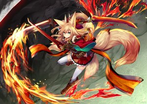 Rating: Safe Score: 44 Tags: animal_ears blonde_hair boots fire foxgirl green_eyes haik long_hair multiple_tails original sword tail thighhighs weapon zettai_ryouiki User: RyuZU