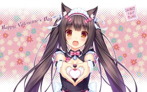 Rating: Safe Score: 80 Tags: animal_ears bell blush bow breasts brown_hair catgirl cat_smile chocola_(sayori) cleavage headdress heart long_hair maid nekopara orange_eyes ribbons sayori twintails uniform valentine waitress wristwear User: RyuZU
