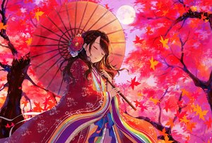 Rating: Safe Score: 69 Tags: autumn braids brown_hair flowers japanese_clothes leaves long_hair sky sudach_koppe tree umbrella User: BattlequeenYume