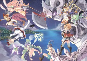 Rating: Safe Score: 74 Tags: animal animal_ears armor bandage bird blonde_hair blue_hair boots bunny_ears cape city gloves goggles group hat headband headdress hpflower kneehighs long_hair original ponytail purple_hair short_hair skirt staff sword thighhighs twintails water weapon white_hair wings User: FormX