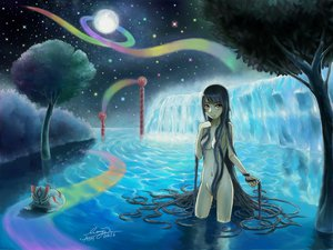 Rating: Questionable Score: 69 Tags: long_hair moon night nude original signed water User: Kamina_Aniki