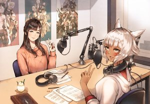 Rating: Safe Score: 60 Tags: 2girls animal_ears black_hair blush book brown_eyes catgirl final_fantasy final_fantasy_xiv gray_eyes gray_hair haimerejzero headphones kayano_ai long_hair miqo'te short_hair y'shtola_rhul User: SciFi