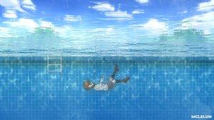 Rating: Safe Score: 22 Tags: black_hair bubbles clouds kneehighs mclelun original pool school_uniform short_hair skirt sky underwater water watermark User: RyuZU
