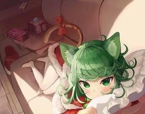 Rating: Safe Score: 61 Tags: animal_ears bitseon blush catgirl christmas couch green_eyes green_hair onepunch_man pantyhose tail tatsumaki_(onepunch_man) User: BattlequeenYume
