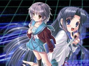 Rating: Safe Score: 20 Tags: asakura_ryouko blue_eyes blue_hair jpeg_artifacts knife nagato_yuki suzumiya_haruhi_no_yuutsu User: Oyashiro-sama