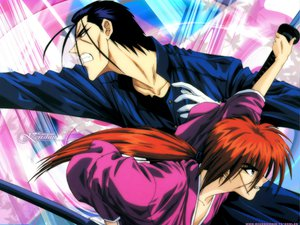Rating: Safe Score: 2 Tags: all_male himura_kenshin japanese_clothes katana male rurouni_kenshin saito_hajime scar sword weapon User: Oyashiro-sama
