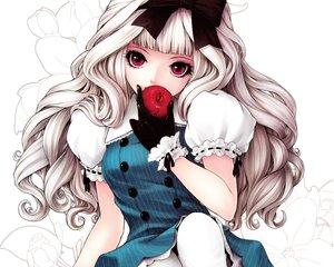 Rating: Safe Score: 362 Tags: apple close cropped food fruit gloves goth-loli kunishige_keiichi lolita_fashion long_hair original red_eyes scan white_hair User: mattiasc02