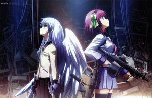 Rating: Safe Score: 304 Tags: angel_beats! gun hirata_katsuzou long_hair nakamura_yuri purple_hair scan seifuku skirt tachibana_kanade thighhighs weapon white_hair wings zettai_ryouiki User: Wiresetc