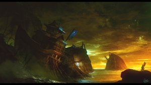 Rating: Safe Score: 91 Tags: boat landscape matsura_ichirou original ruins scenic signed sky sunset water User: Flandre93