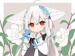 Rating: Safe Score: 36 Tags: aliasing animal_ears blush bow braids close dress flowers foxgirl gray_hair loli long_hair mei_mu original red_eyes ribbons sakurada_shiro User: otaku_emmy