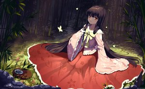 Rating: Safe Score: 44 Tags: black_hair butterfly dress forest houraisan_kaguya long_hair red_eyes snozaki touhou tree watermark User: Nepcoheart